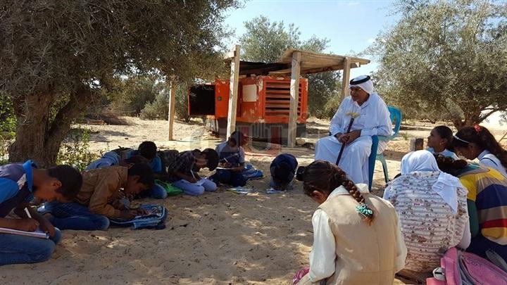 طلاب الشيخ زويد يطلبون العلم أسفل أشجار الزيتون