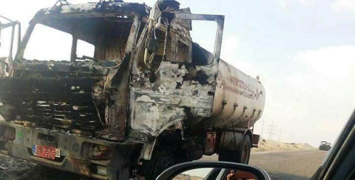 التكفيرين الارهابين يحرقون عربات المواطنين حجة تعاونهم وعملهم مع الجيش